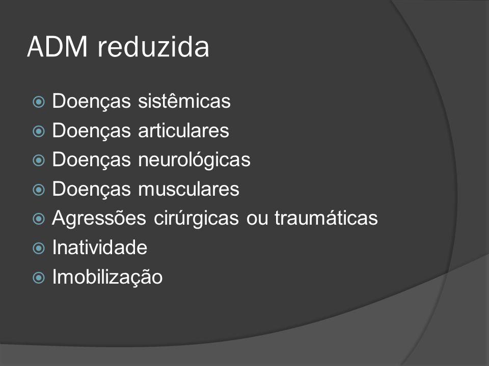 ADM reduzida Doenças sistêmicas Doenças articulares