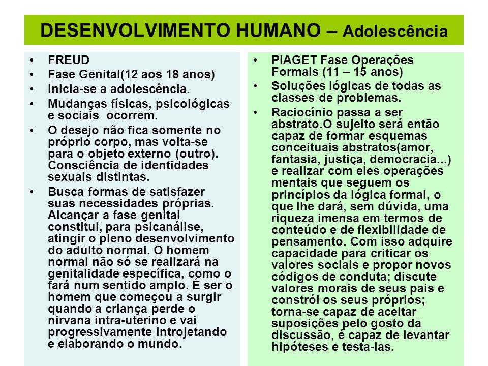 DESENVOLVIMENTO HUMANO – Adolescência
