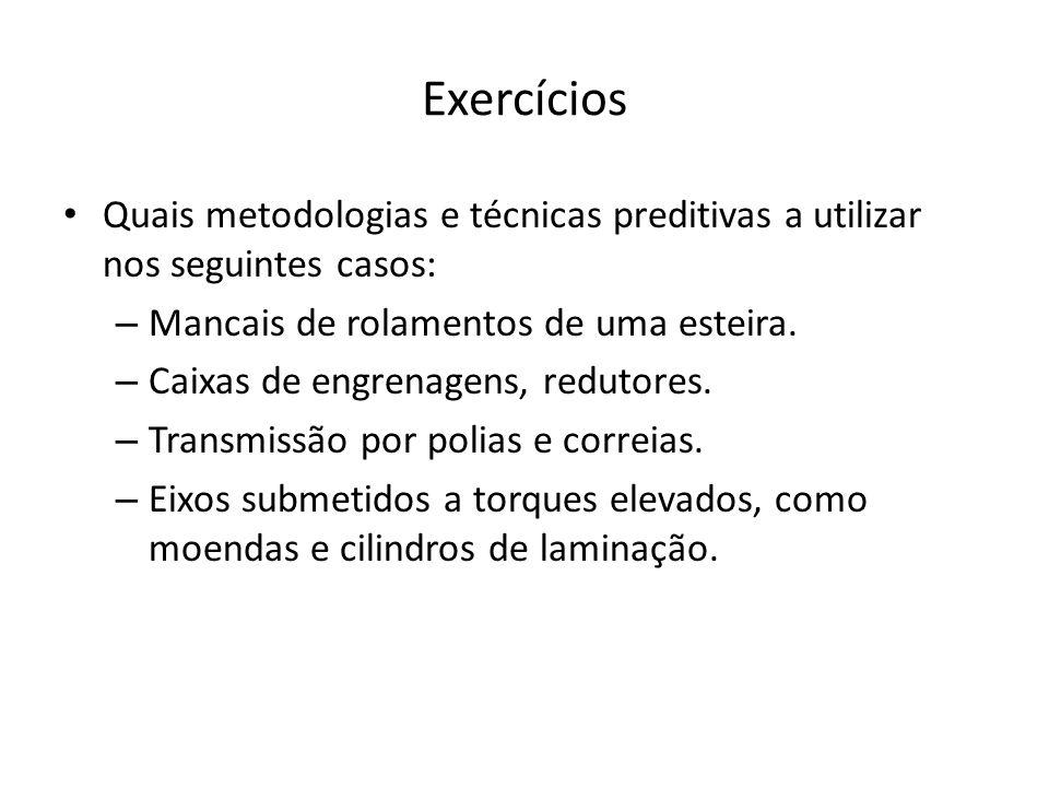 Exercícios Quais metodologias e técnicas preditivas a utilizar nos seguintes casos: Mancais de rolamentos de uma esteira.