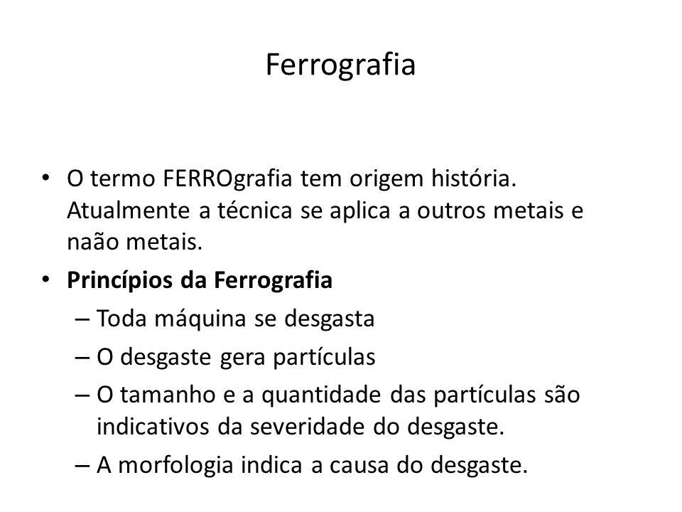 Ferrografia O termo FERROgrafia tem origem história. Atualmente a técnica se aplica a outros metais e naão metais.