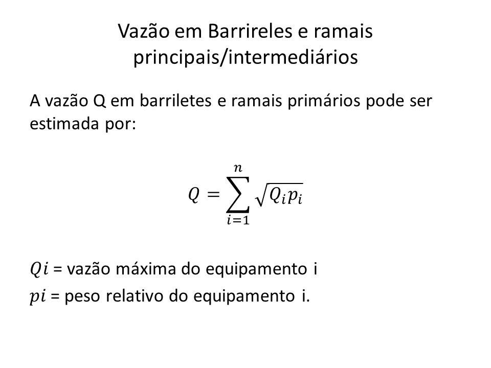 Vazão em Barrireles e ramais principais/intermediários