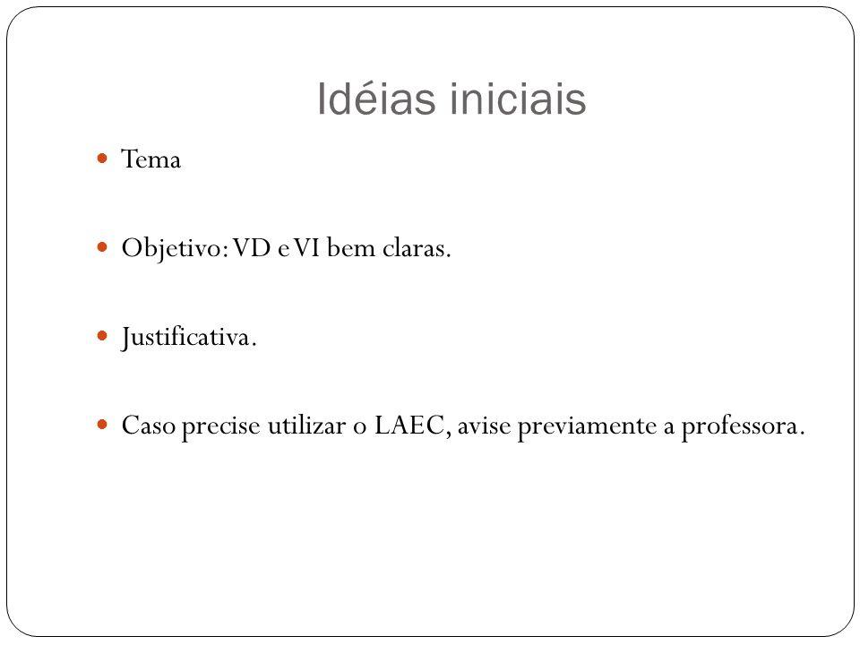 Idéias iniciais Tema Objetivo: VD e VI bem claras. Justificativa.