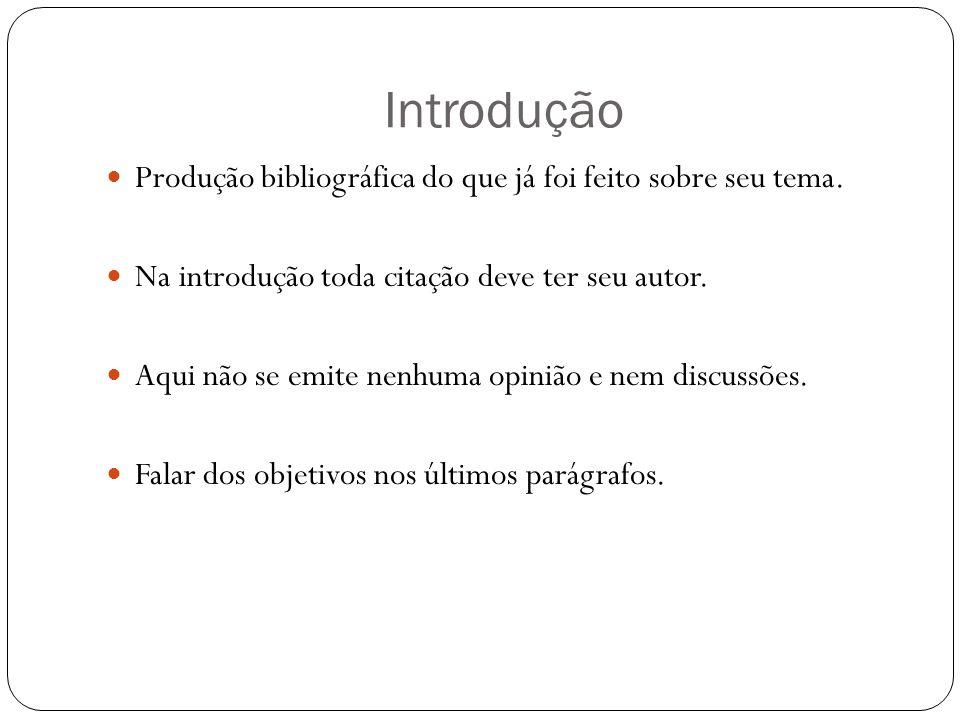 Introdução Produção bibliográfica do que já foi feito sobre seu tema.