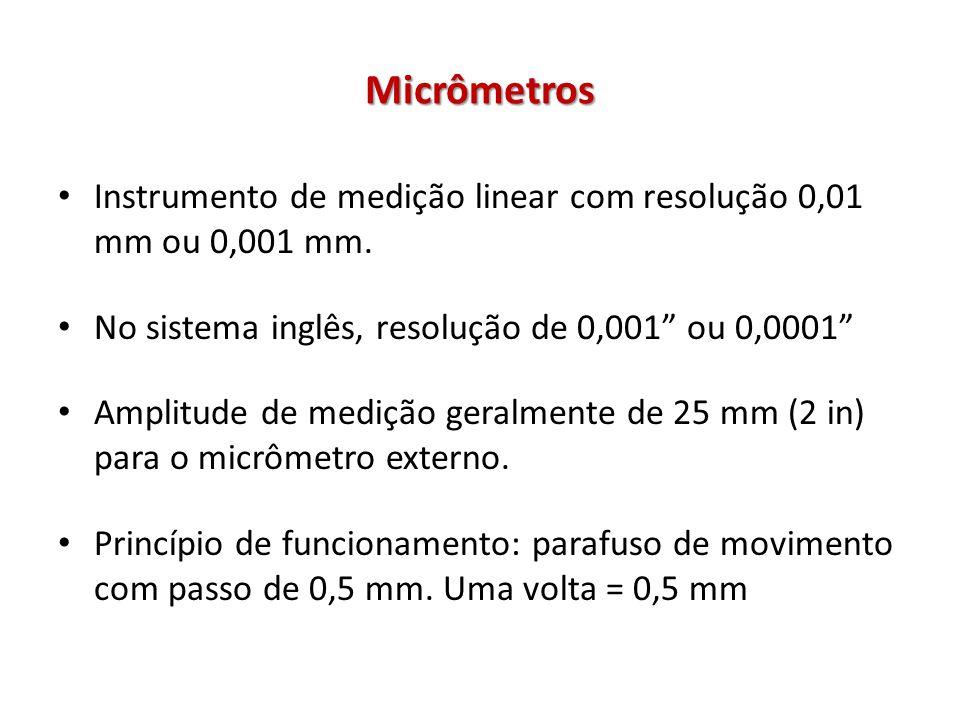 Micrômetros Instrumento de medição linear com resolução 0,01 mm ou 0,001 mm. No sistema inglês, resolução de 0,001 ou 0,0001