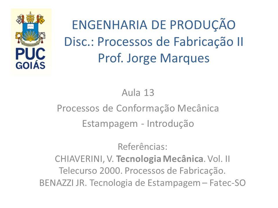 Aula 13 Processos de Conformação Mecânica Estampagem - Introdução