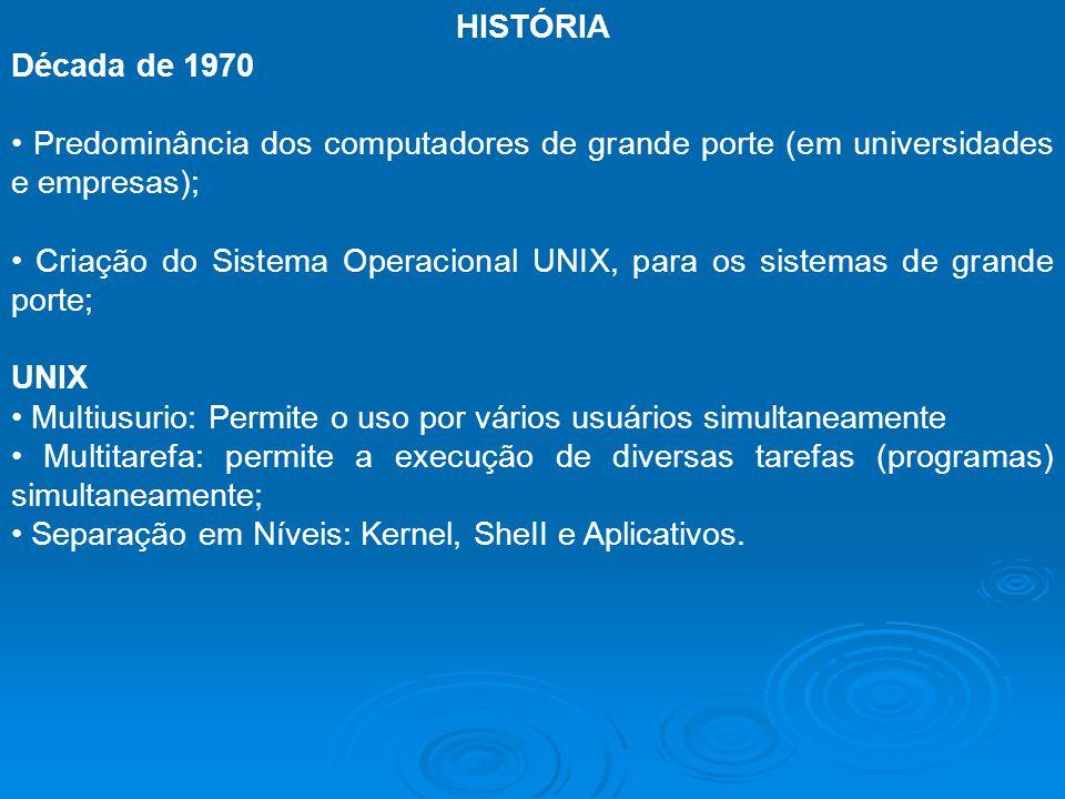 HISTÓRIA Década de 1970. • Predominância dos computadores de grande porte (em universidades e empresas);