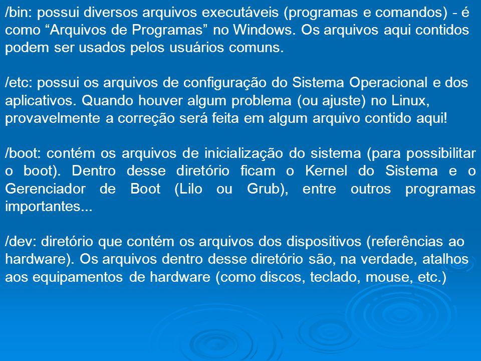 /bin: possui diversos arquivos executáveis (programas e comandos) - é como Arquivos de Programas no Windows. Os arquivos aqui contidos podem ser usados pelos usuários comuns.