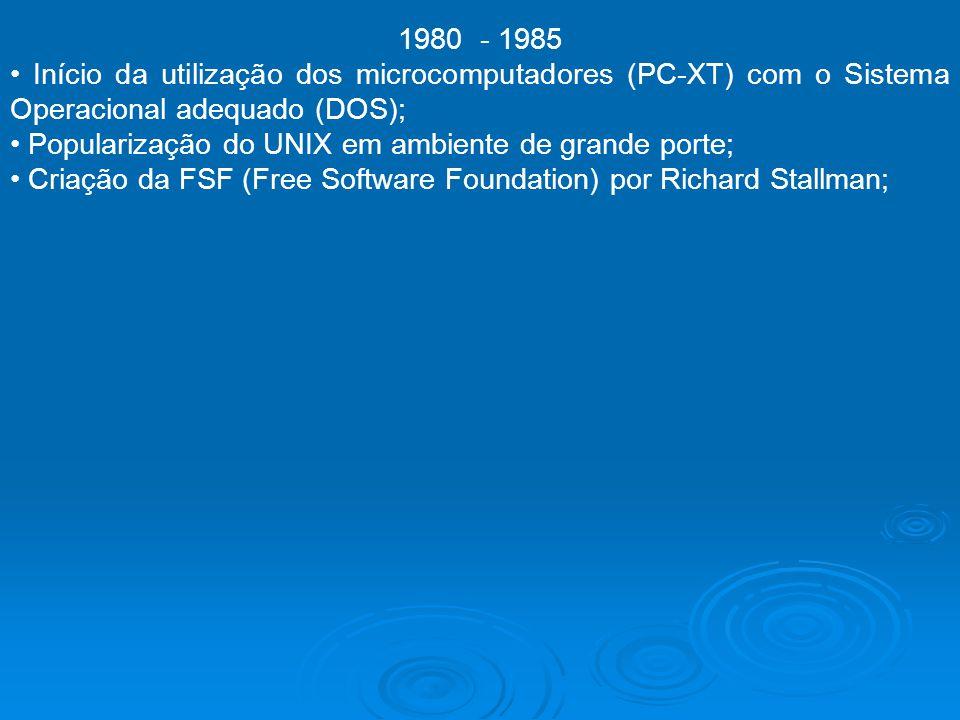 1980 - 1985 • Início da utilização dos microcomputadores (PC-XT) com o Sistema Operacional adequado (DOS);