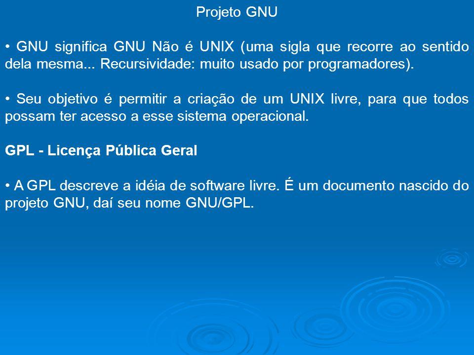 Projeto GNU • GNU significa GNU Não é UNIX (uma sigla que recorre ao sentido dela mesma... Recursividade: muito usado por programadores).
