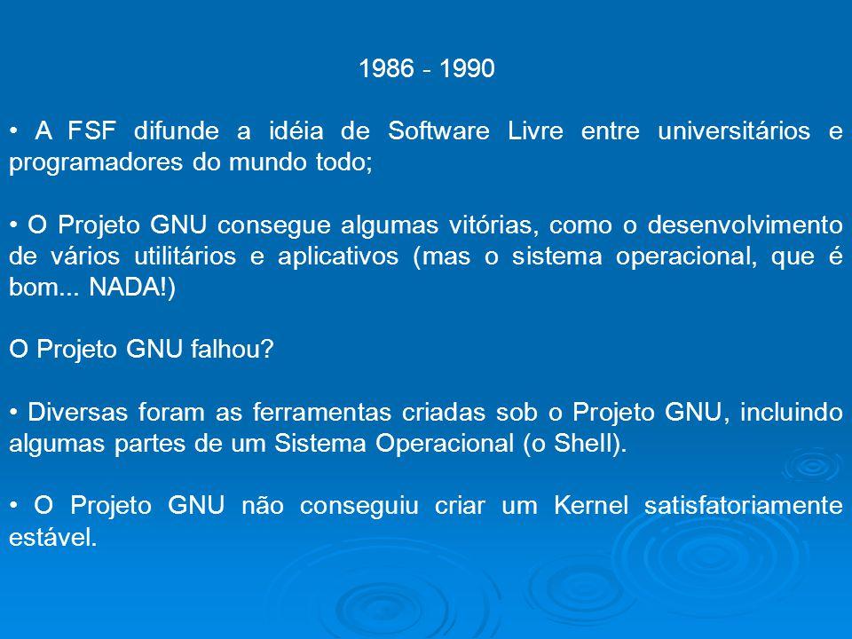 1986 - 1990 • A FSF difunde a idéia de Software Livre entre universitários e programadores do mundo todo;