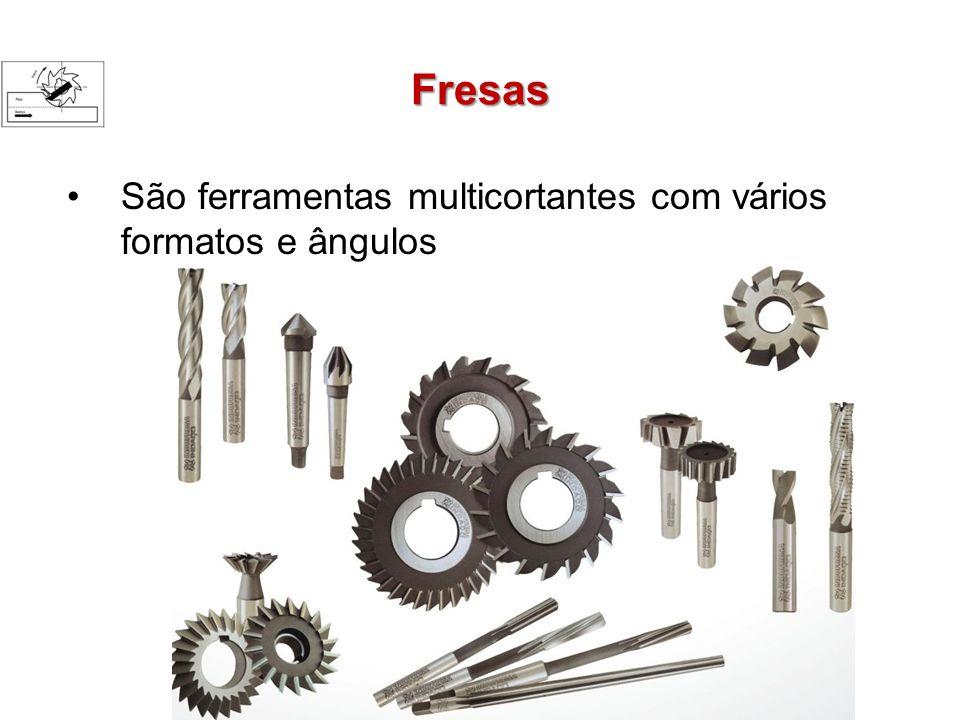 Fresas São ferramentas multicortantes com vários formatos e ângulos
