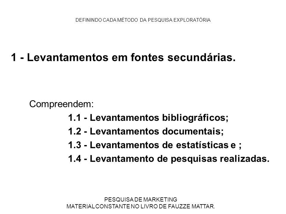DEFININDO CADA MÉTODO DA PESQUISA EXPLORATÓRIA