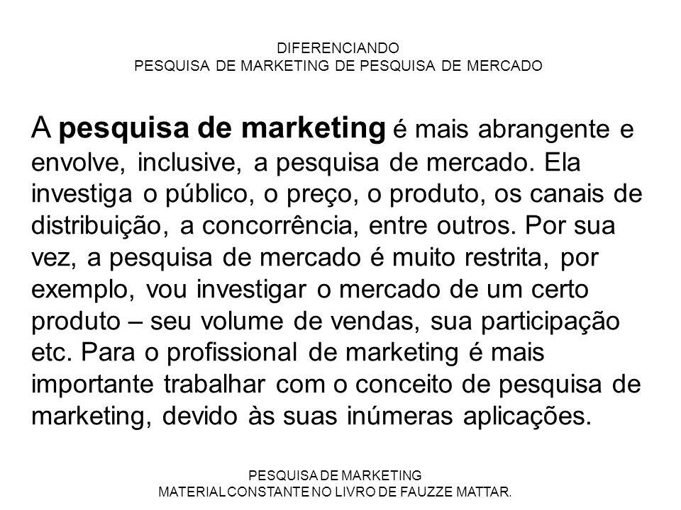 DIFERENCIANDO PESQUISA DE MARKETING DE PESQUISA DE MERCADO