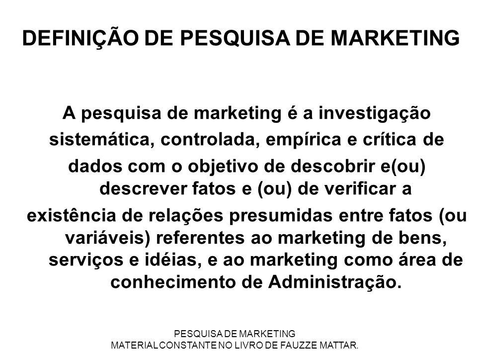 DEFINIÇÃO DE PESQUISA DE MARKETING