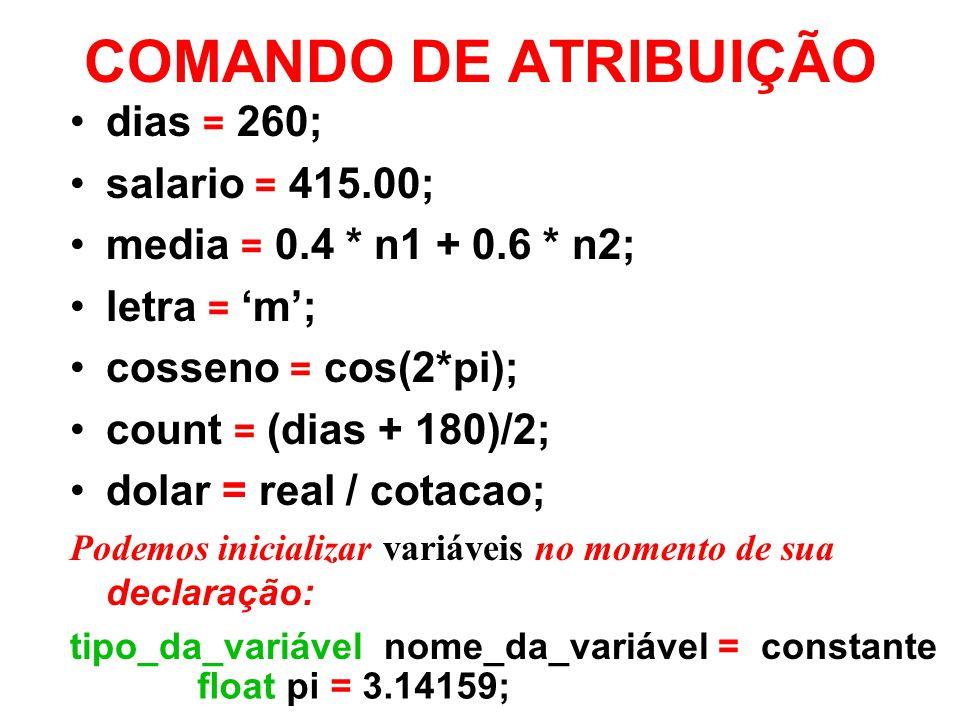 COMANDO DE ATRIBUIÇÃO dias = 260; salario = 415.00;