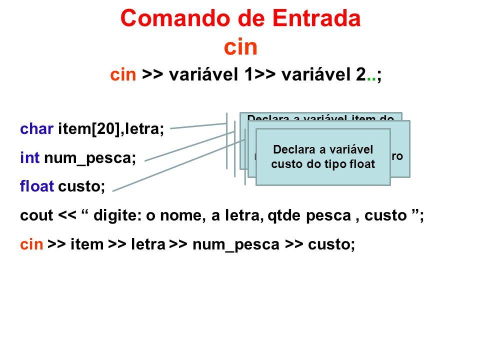 Comando de Entrada cin cin >> variável 1>> variável 2..;