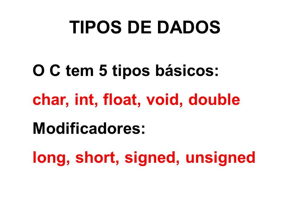TIPOS DE DADOS O C tem 5 tipos básicos: char, int, float, void, double