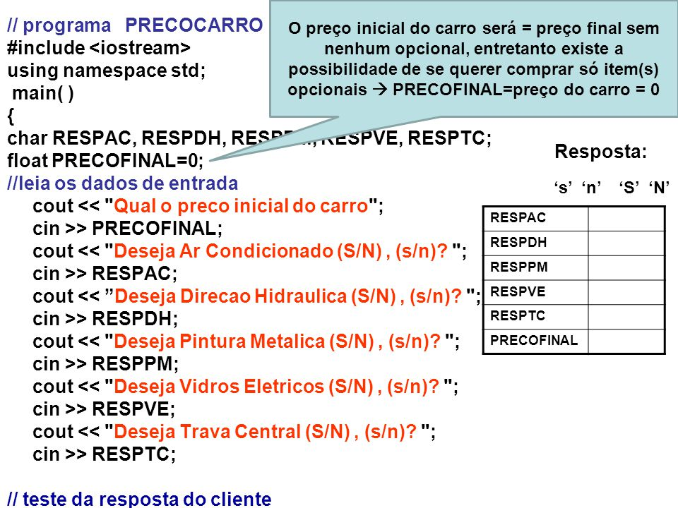 // programa PRECOCARRO #include <iostream> using namespace std;