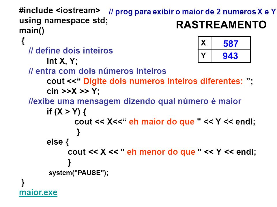 RASTREAMENTO 587 943 #include <iostream> using namespace std;