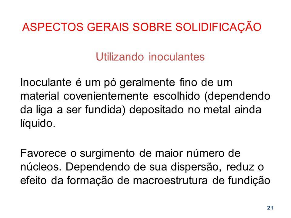 ASPECTOS GERAIS SOBRE SOLIDIFICAÇÃO