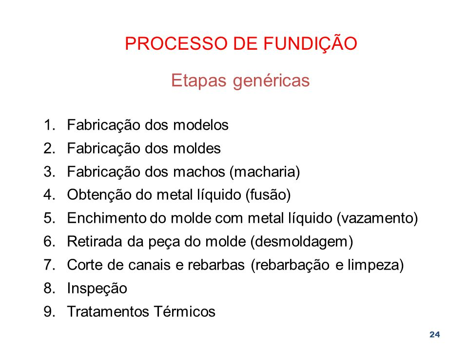PROCESSO DE FUNDIÇÃO Etapas genéricas Fabricação dos modelos
