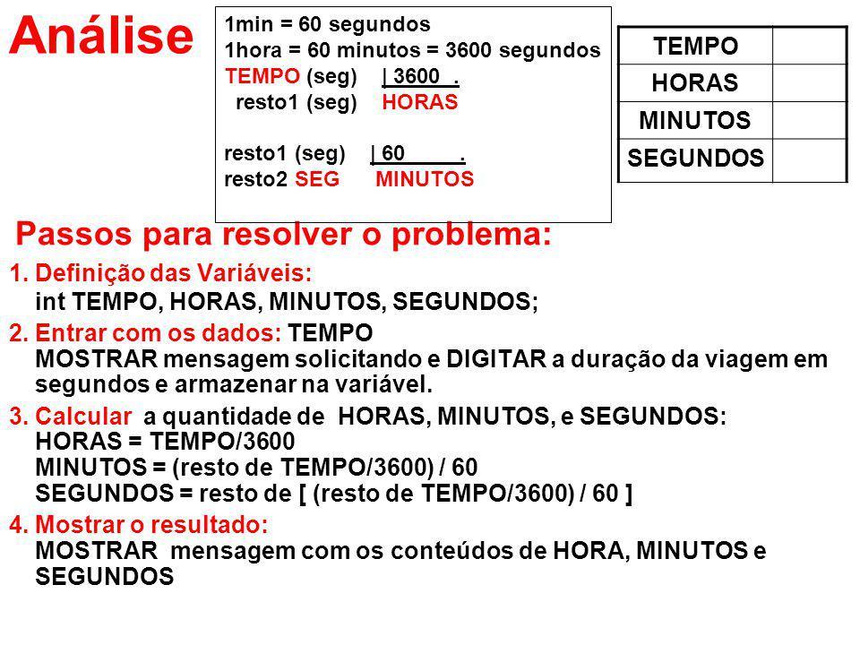 Análise TEMPO HORAS MINUTOS SEGUNDOS Passos para resolver o problema: