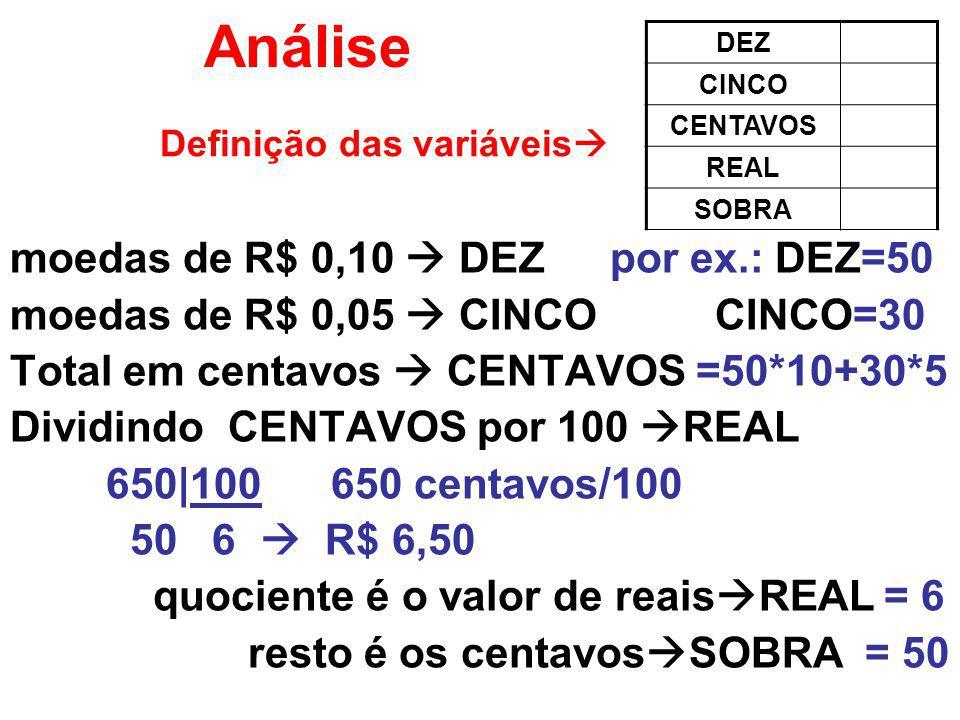 Análise moedas de R$ 0,10  DEZ por ex.: DEZ=50