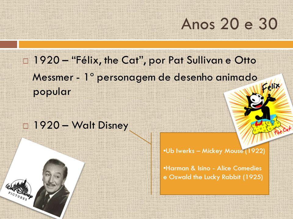 Anos 20 e 30 1920 – Félix, the Cat , por Pat Sullivan e Otto