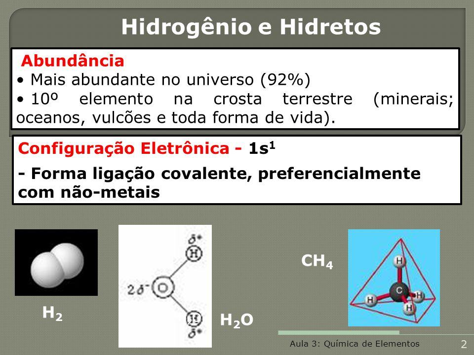 Hidrogênio e Hidretos Mais abundante no universo (92%)