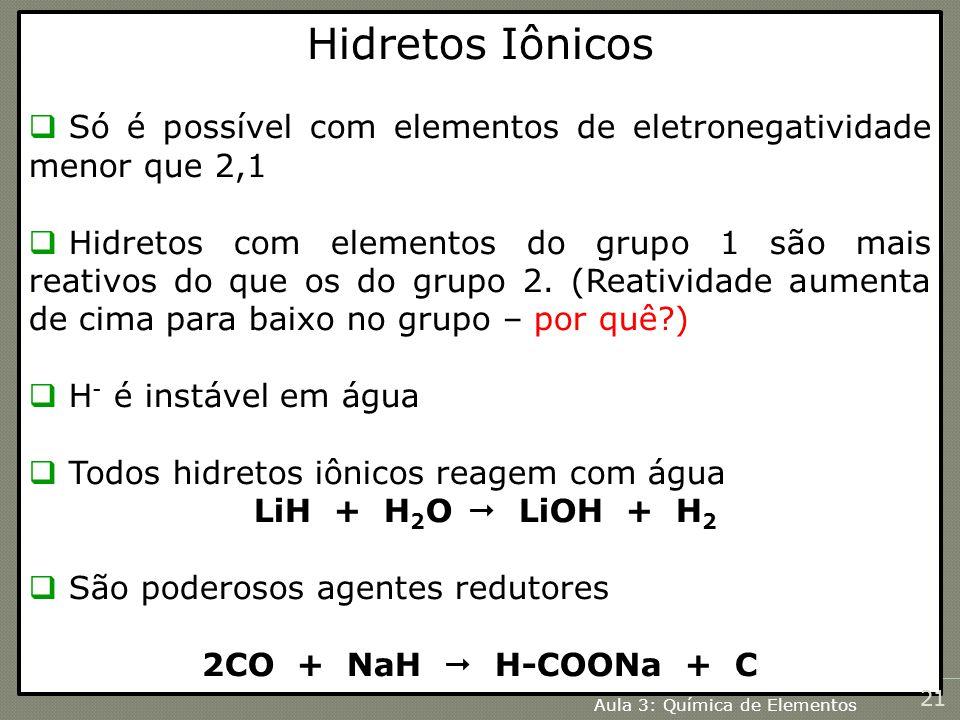 Hidretos Iônicos Só é possível com elementos de eletronegatividade menor que 2,1.