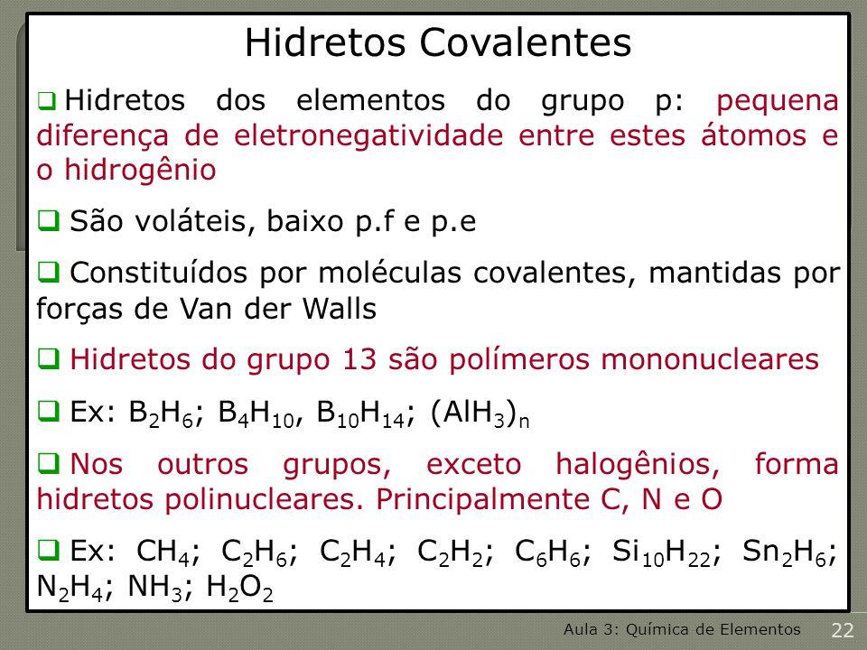 Hidretos Covalentes São voláteis, baixo p.f e p.e