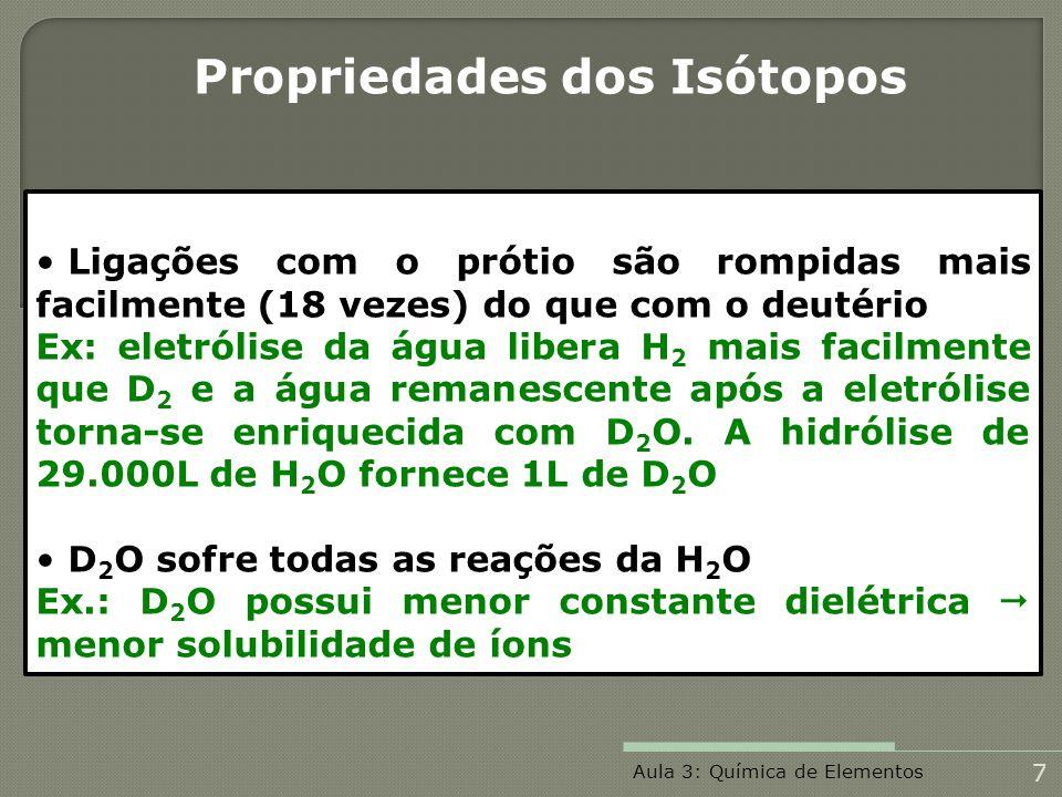 Propriedades dos Isótopos