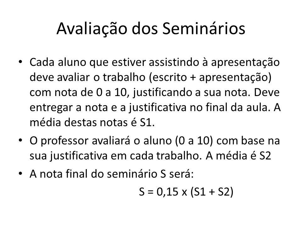 Avaliação dos Seminários