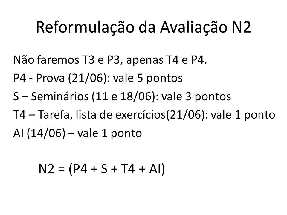 Reformulação da Avaliação N2