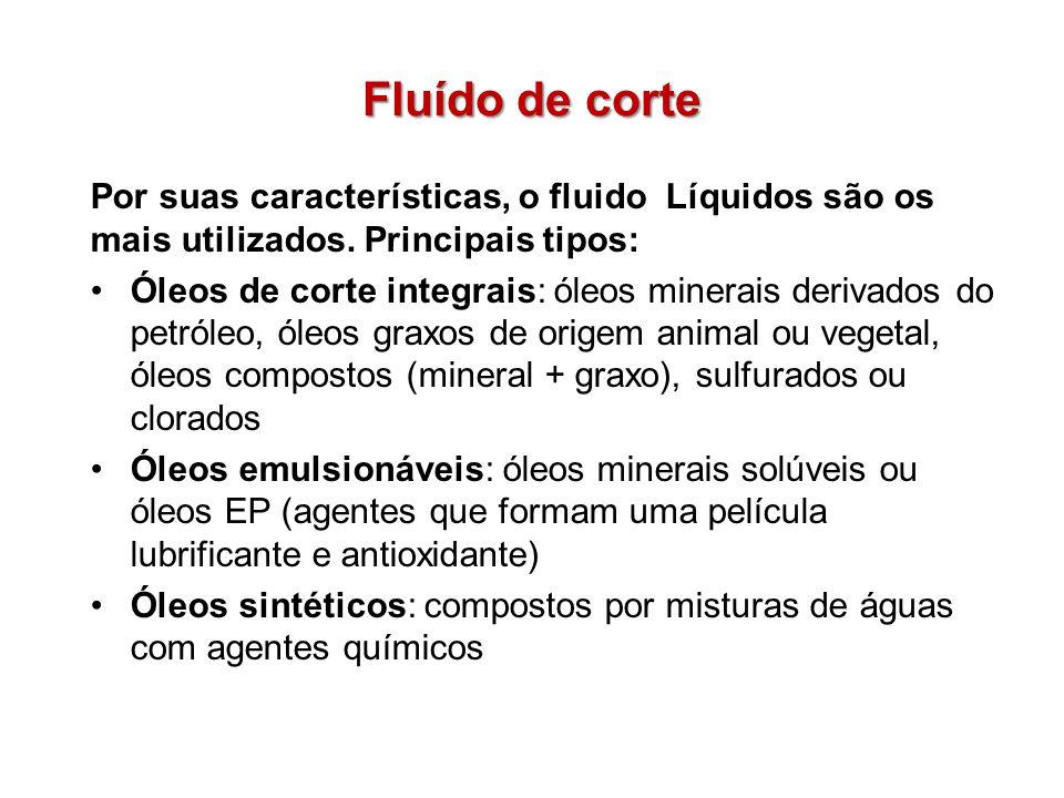 Fluído de corte Por suas características, o fluido Líquidos são os mais utilizados. Principais tipos: