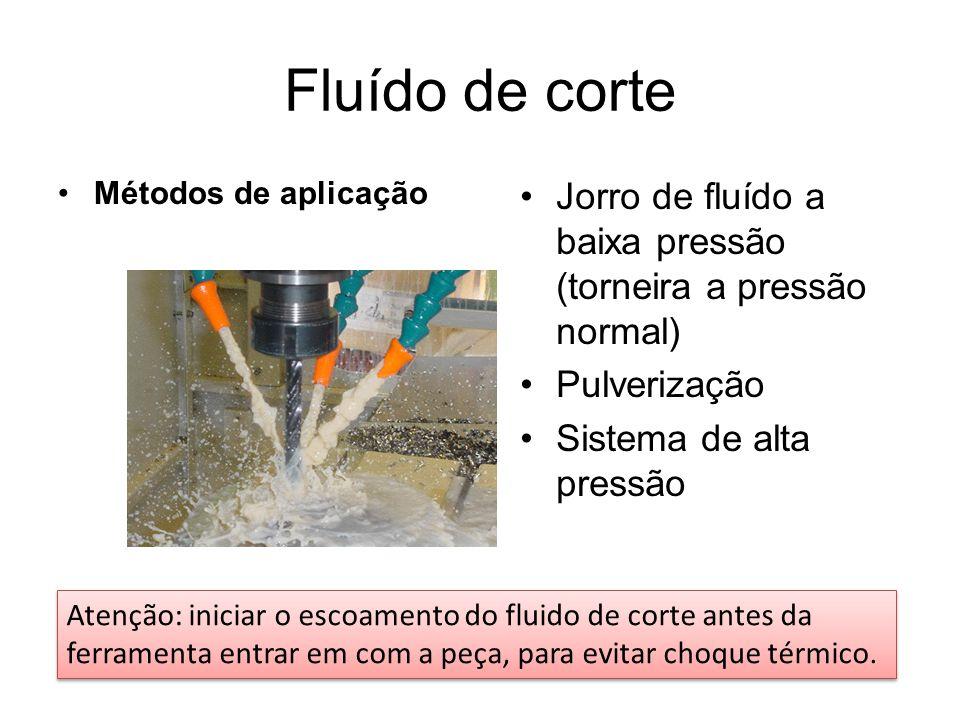 Fluído de corte Métodos de aplicação. Jorro de fluído a baixa pressão (torneira a pressão normal) Pulverização.
