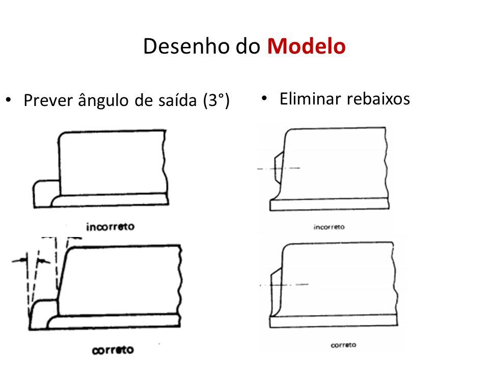 Desenho do Modelo Prever ângulo de saída (3°) Eliminar rebaixos