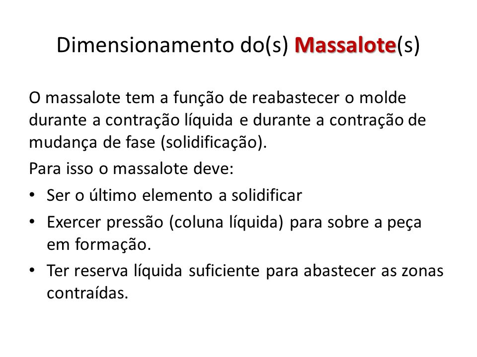 Dimensionamento do(s) Massalote(s)