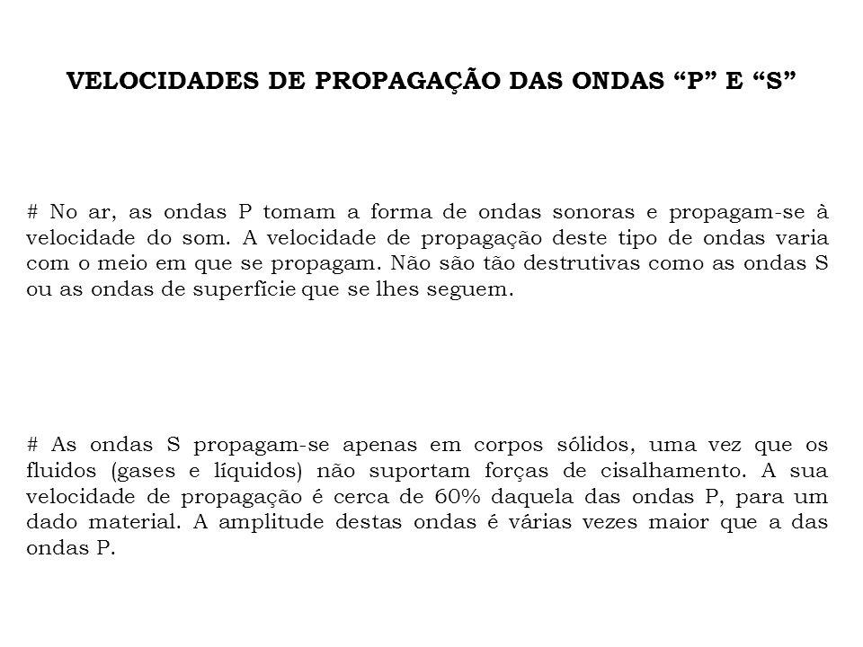 VELOCIDADES DE PROPAGAÇÃO DAS ONDAS P E S