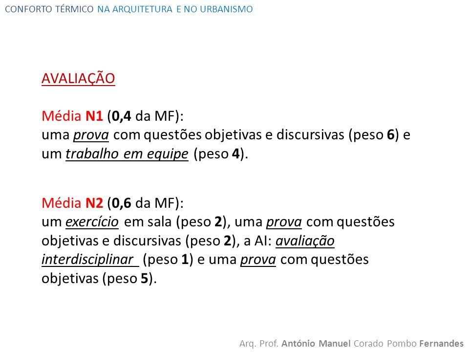 AVALIAÇÃO Média N1 (0,4 da MF):