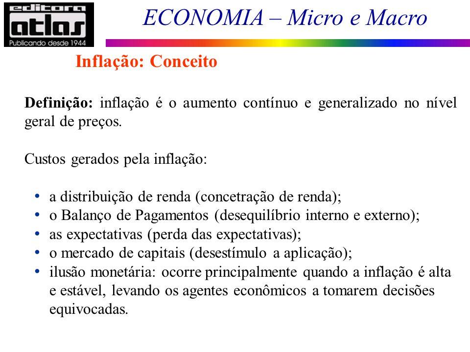 Inflação: Conceito Definição: inflação é o aumento contínuo e generalizado no nível geral de preços.