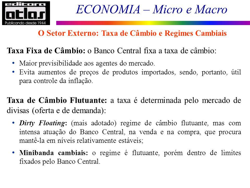 O Setor Externo: Taxa de Câmbio e Regimes Cambiais
