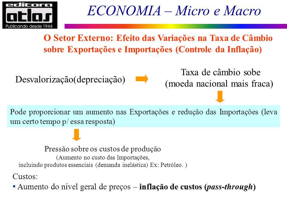 (moeda nacional mais fraca) Desvalorização(depreciação)