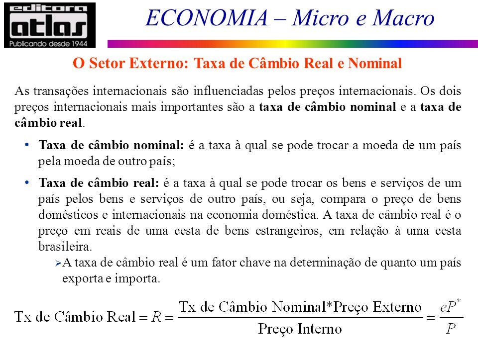 O Setor Externo: Taxa de Câmbio Real e Nominal