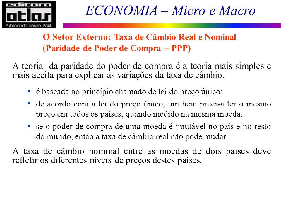 O Setor Externo: Taxa de Câmbio Real e Nominal (Paridade de Poder de Compra – PPP)
