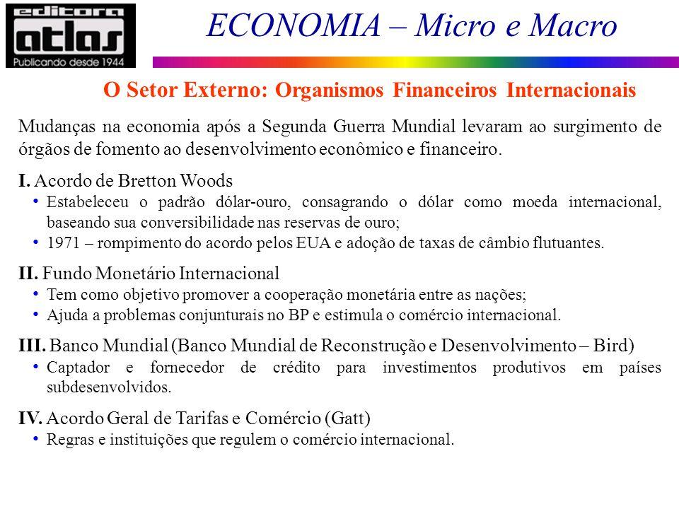 O Setor Externo: Organismos Financeiros Internacionais