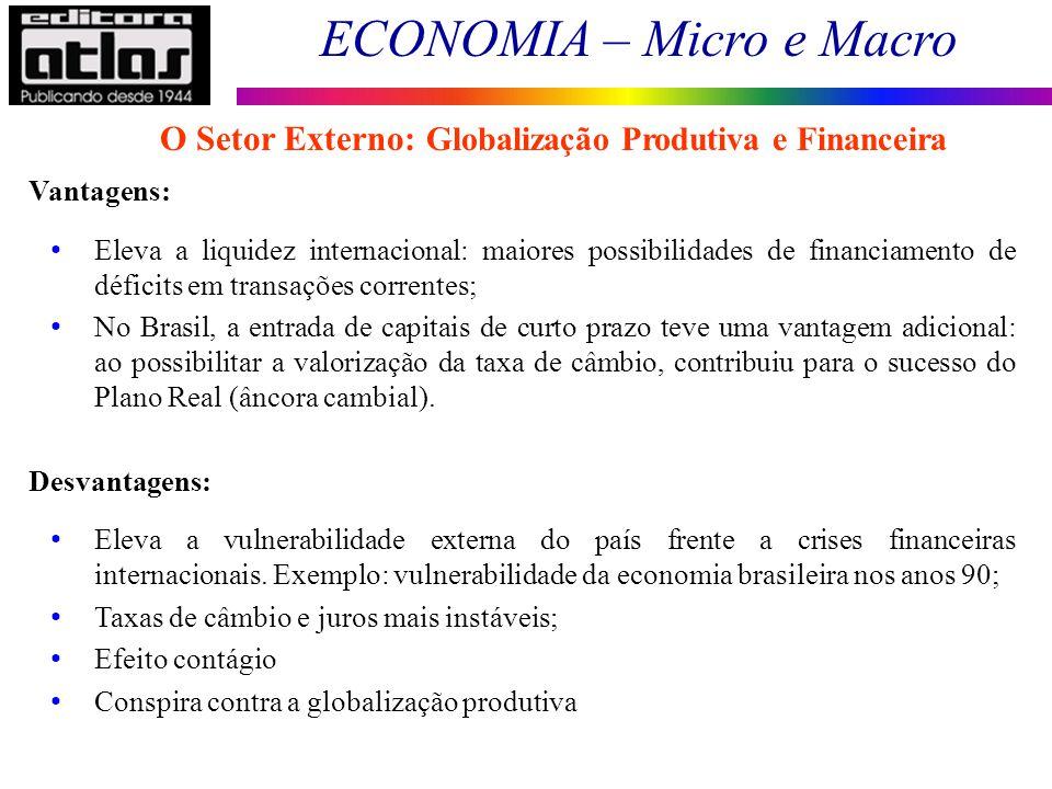 O Setor Externo: Globalização Produtiva e Financeira