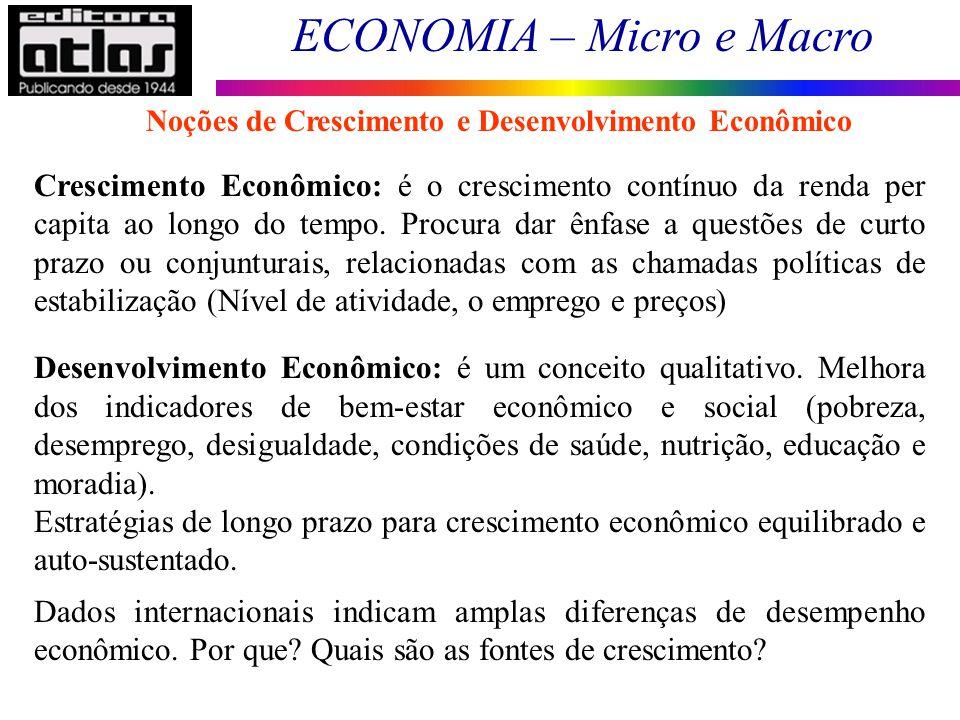 Noções de Crescimento e Desenvolvimento Econômico