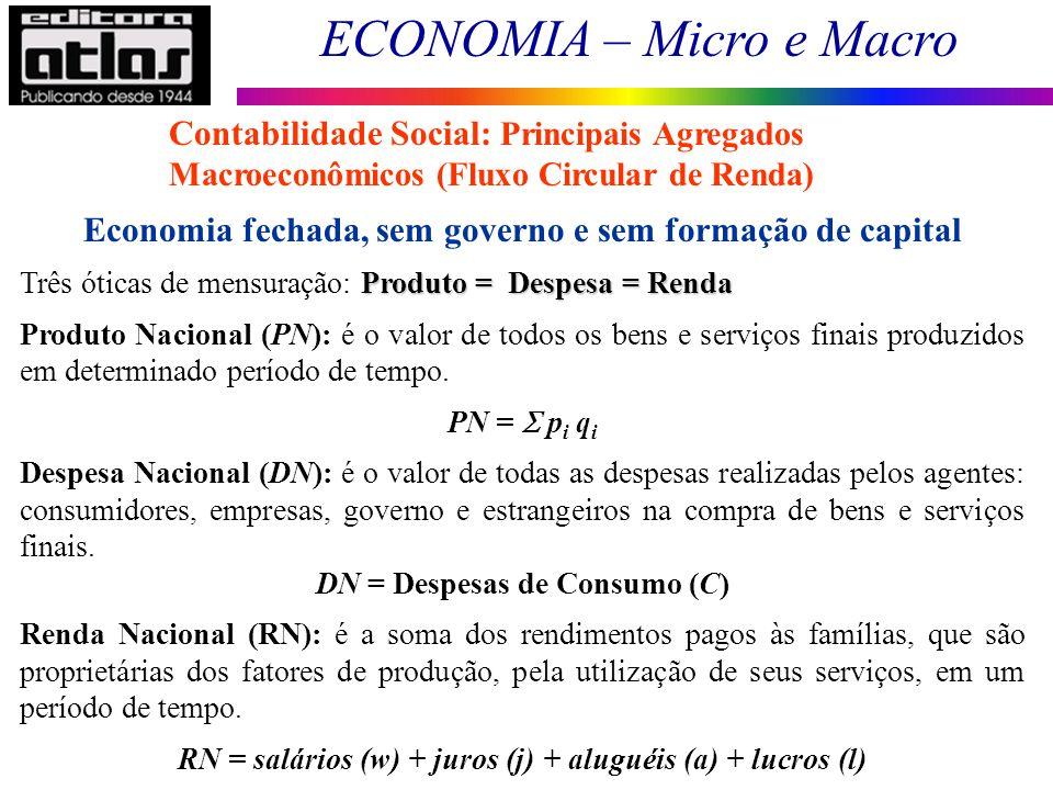 Economia fechada, sem governo e sem formação de capital