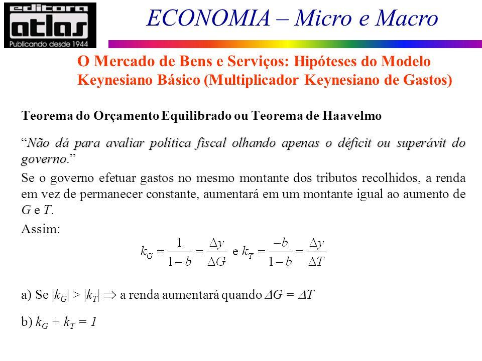 O Mercado de Bens e Serviços: Hipóteses do Modelo Keynesiano Básico (Multiplicador Keynesiano de Gastos)